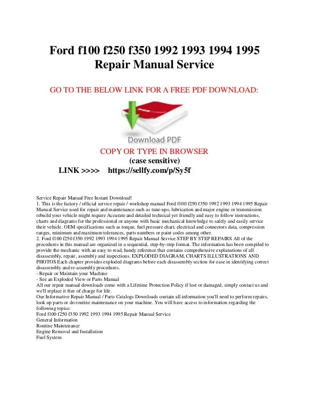 1989 ford f150 owners manual pdf
