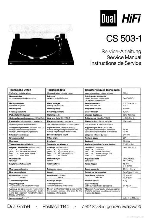 dual cs 505 3 manual