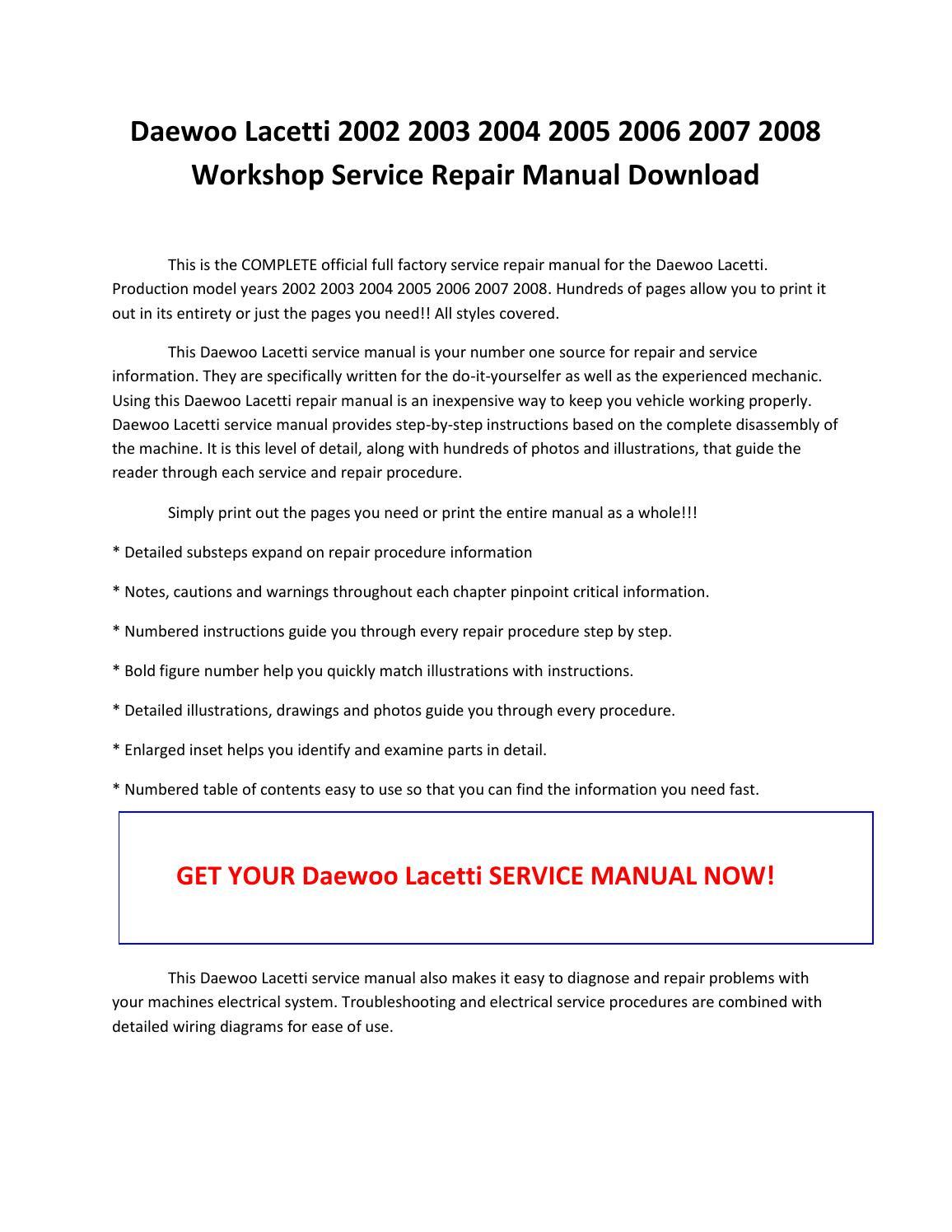 daewoo lacetti service manual pdf