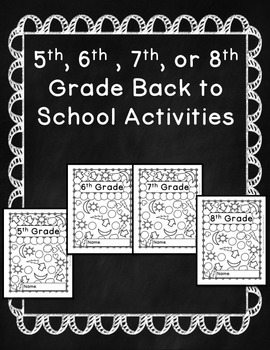 First day of school activities 5th grade pdf