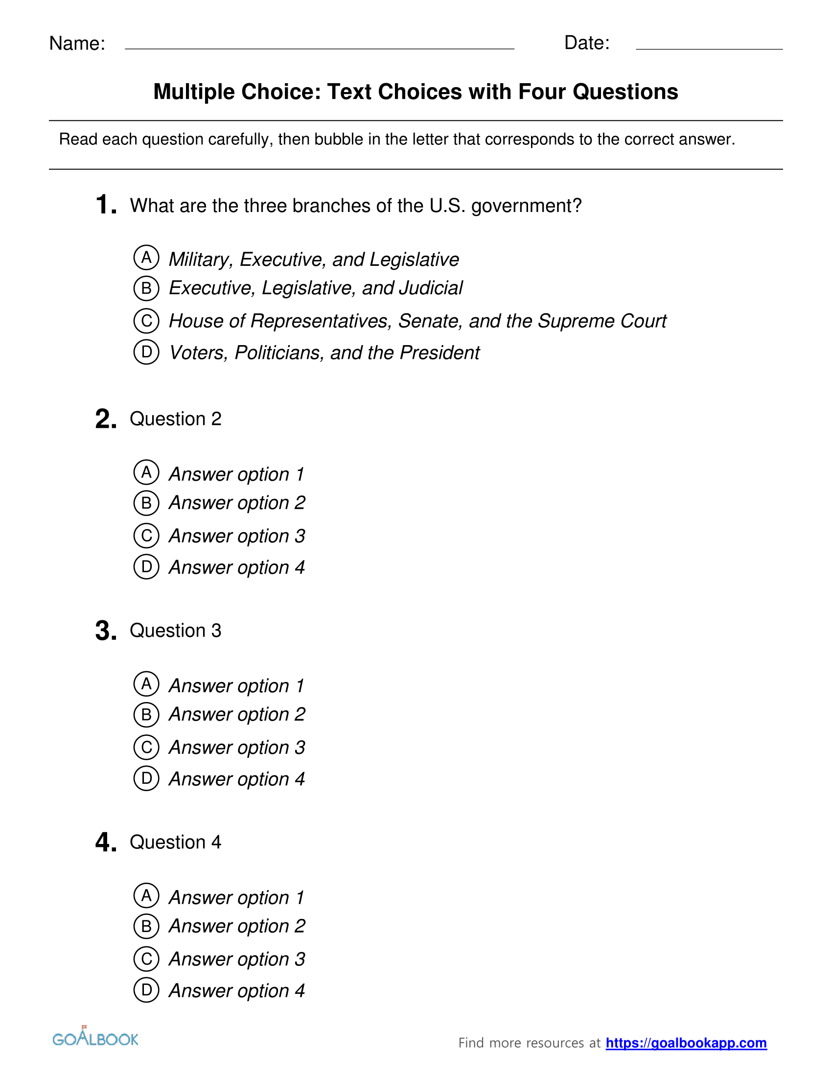 Multiple choice test template pdf