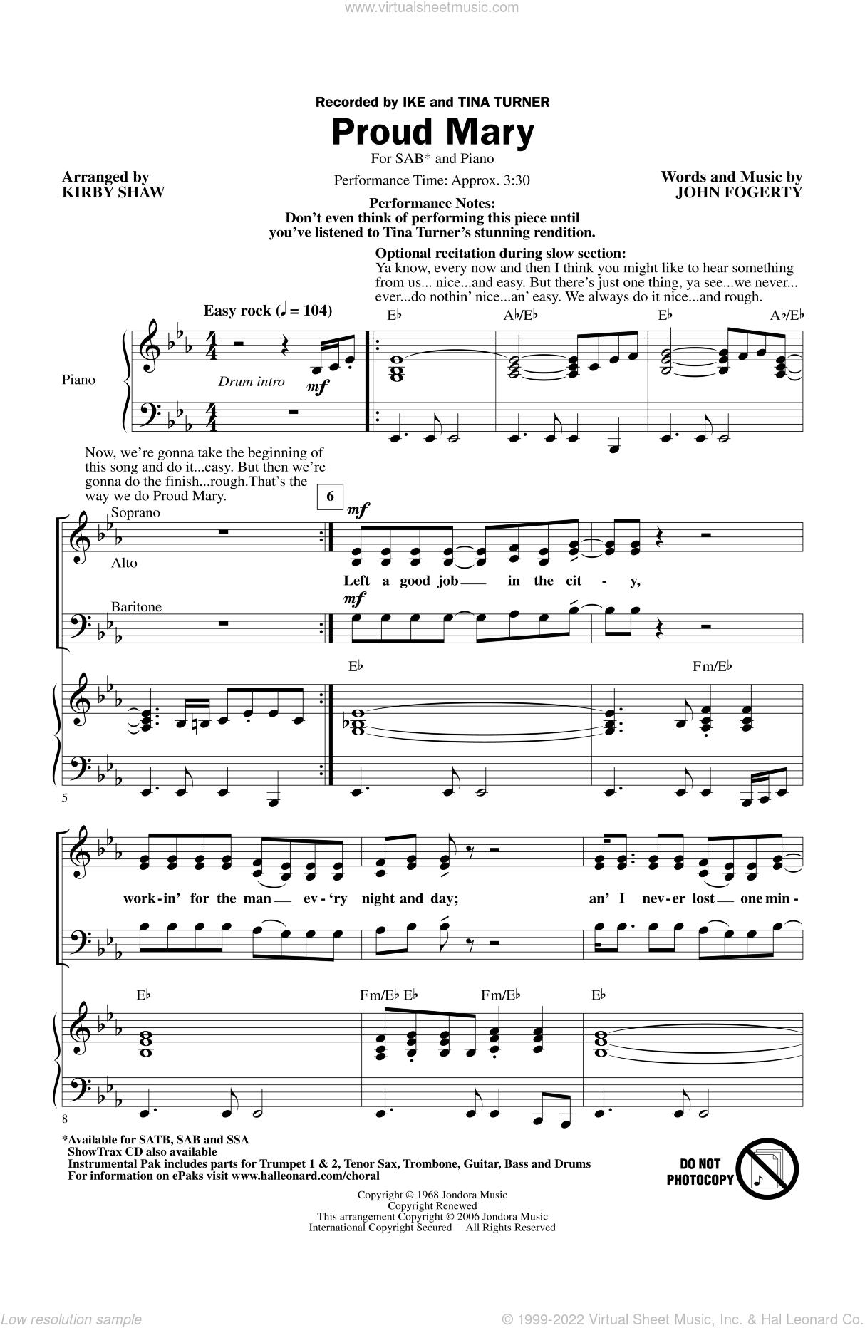 Proud mary piano sheet music pdf