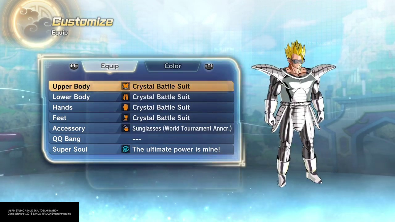 Dbz xenoverse how to get crystal battle suit