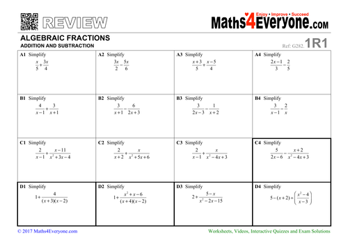 Addition and subtraction of algebraic fractions worksheets pdf