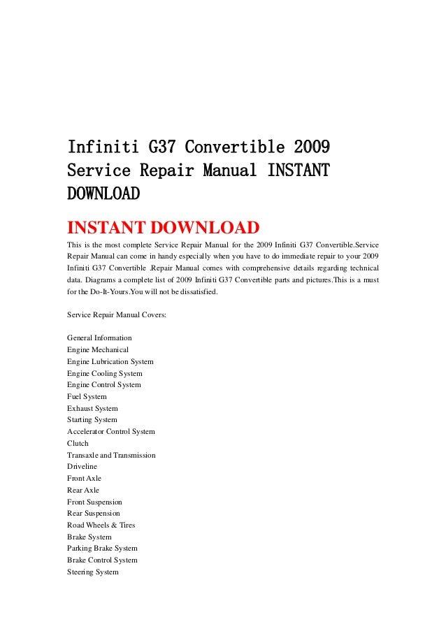 2009 infiniti g37 repair manual