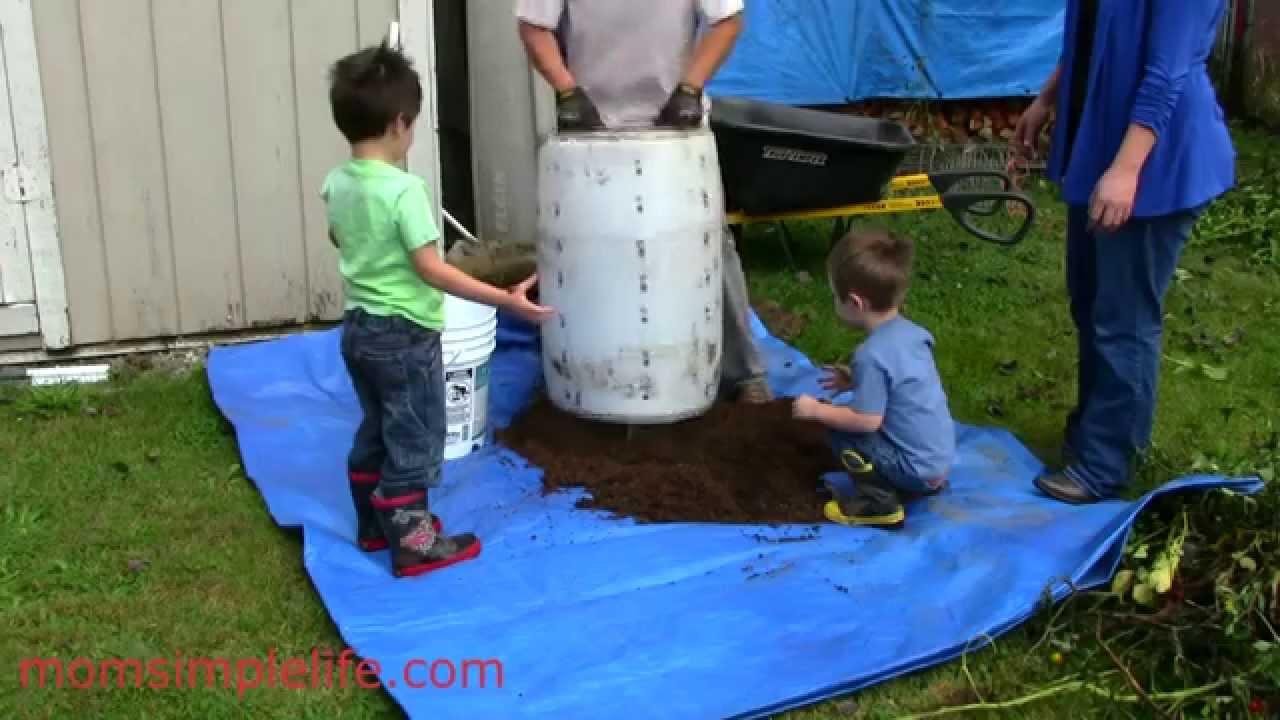 Plastic 55 gal drum potato bin how to make