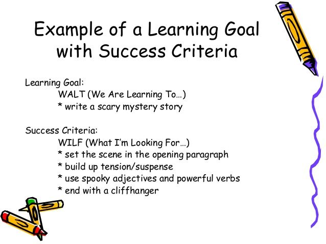 instruction writing success criteria