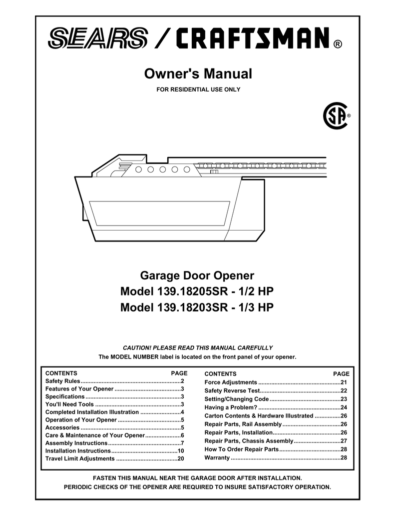 Craftsman garage door opener model 139.539 manual