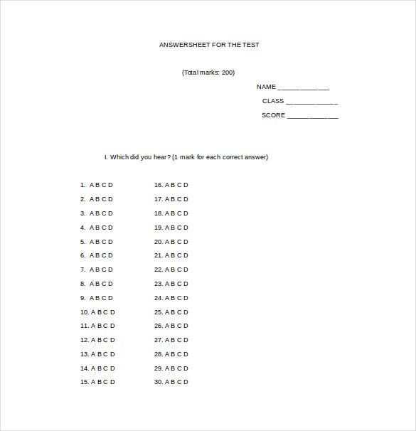 Multiple choice test template pdf