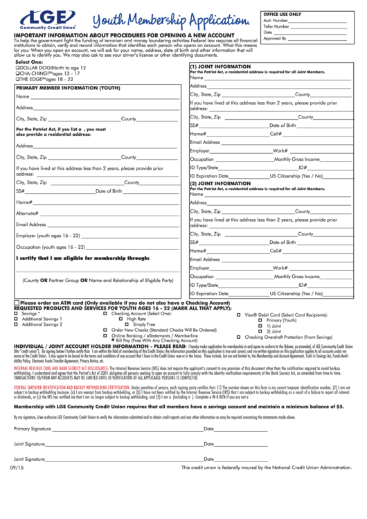 Hse credit union application form
