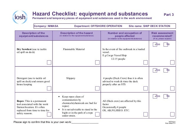 Iosh risk assessment project pdf