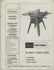 craftsman 12 inch table saw manual