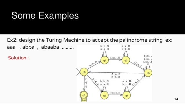 Example of turing machine in automata