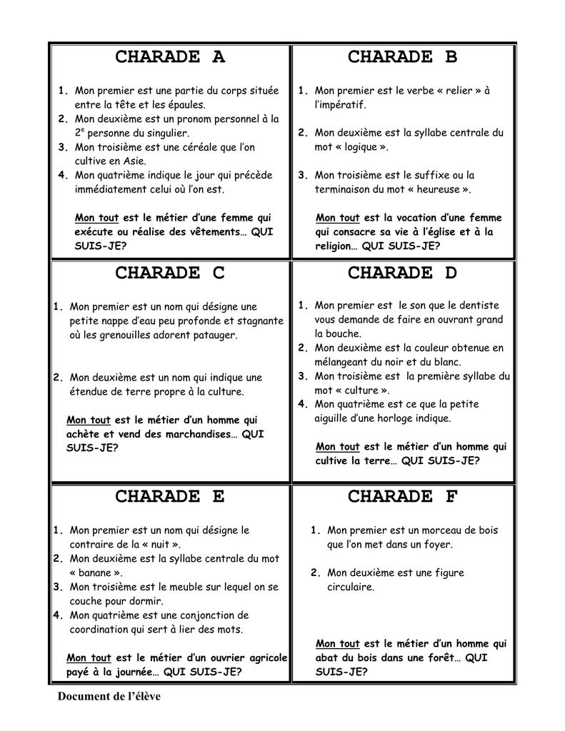 Les charades avec les reponses pdf