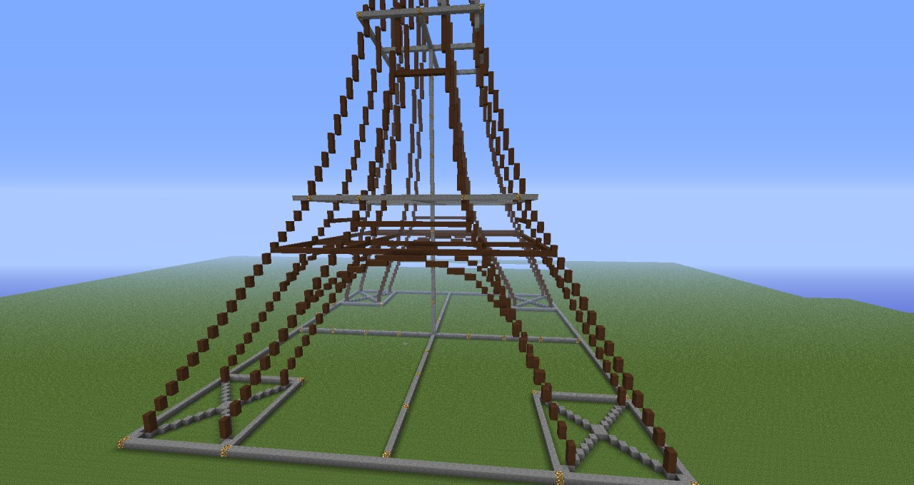 Minecraft tutorial how to build eiffel tower part 3
