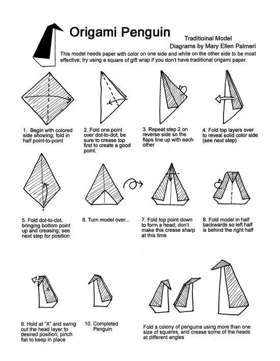 origami penguin folding instructions