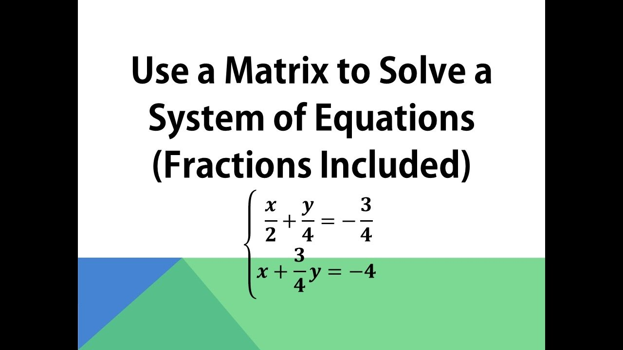 Pdf solving systems of equations with fractions by elimination